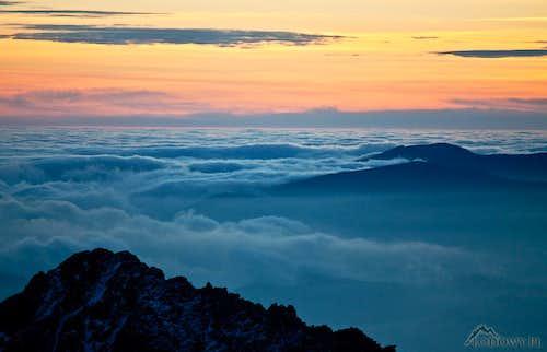Evening carpet of clouds above Liptov