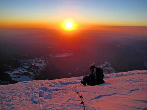Sunrise at 14,000 Feet on Mount Rainier