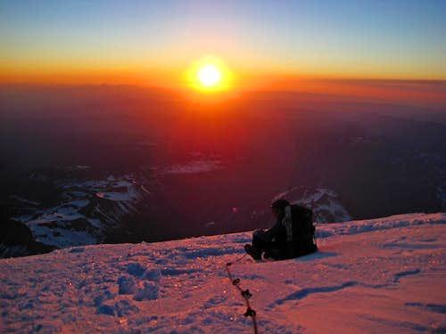 Sunrise at 14,000 Feet on Mount Rainier