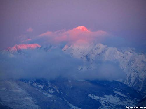 A purple Bietschhorn at sunset