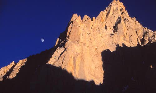 Sunset and Moonrise over Bear Creek Spire