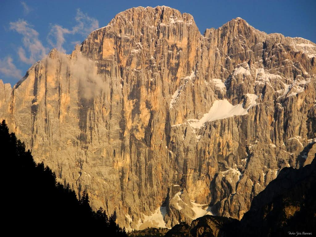Civetta, the hanging glacier at sunset