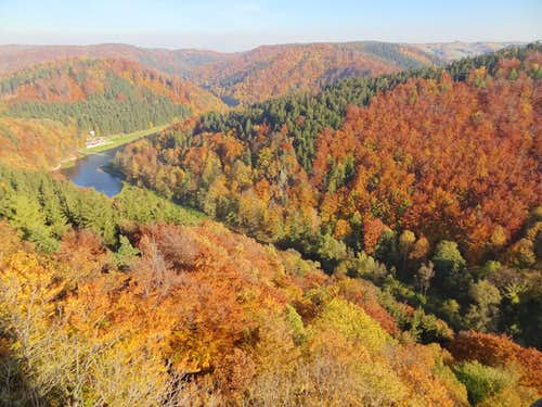 North panorama to the Bystrzyca valley from Grodno castle