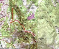 Bennet Mountain, Santa Rosa, California - Map Route