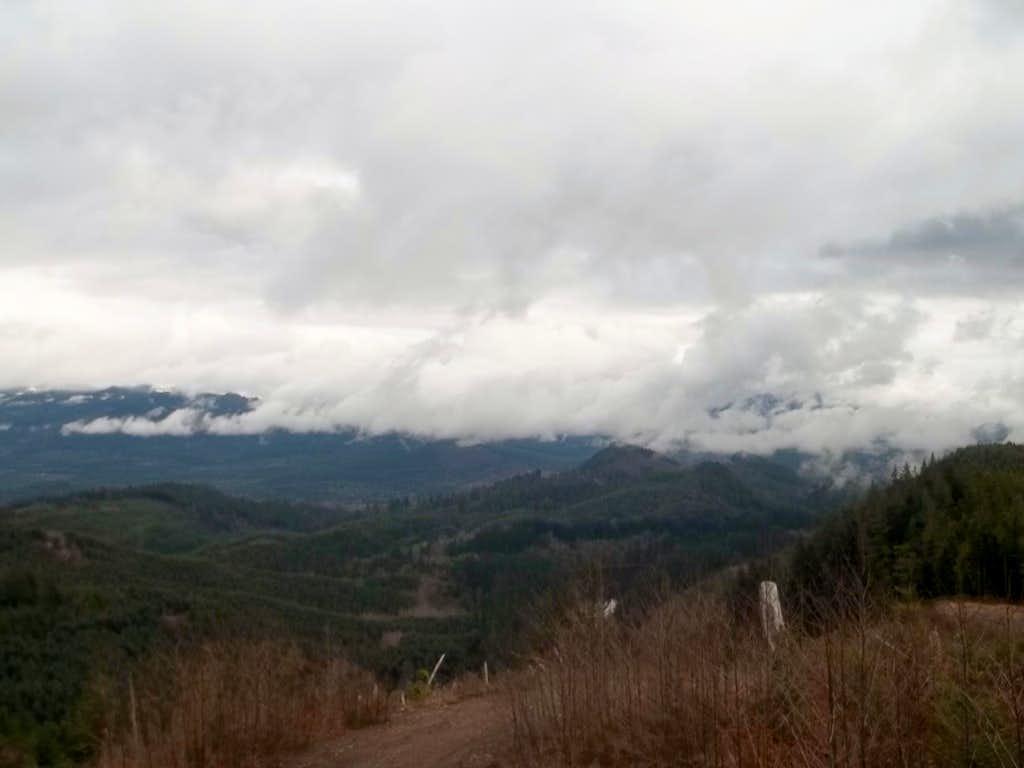Clouds breking toward the east