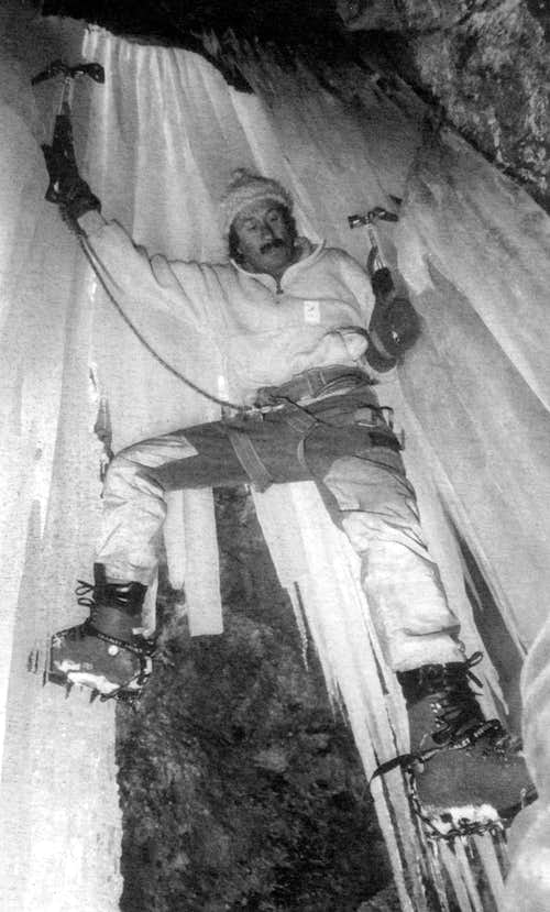 Giancarlo Grassi climbing an ice fall