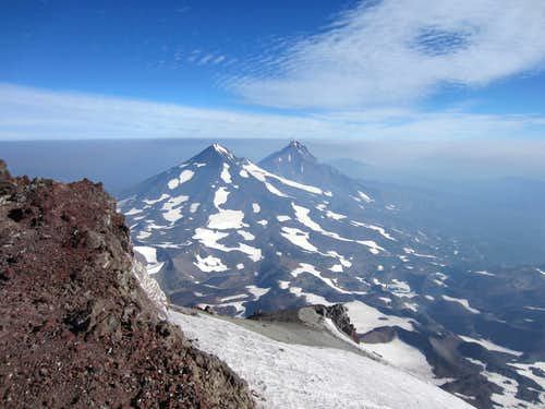 Middle and North Sister from South Sister Summit