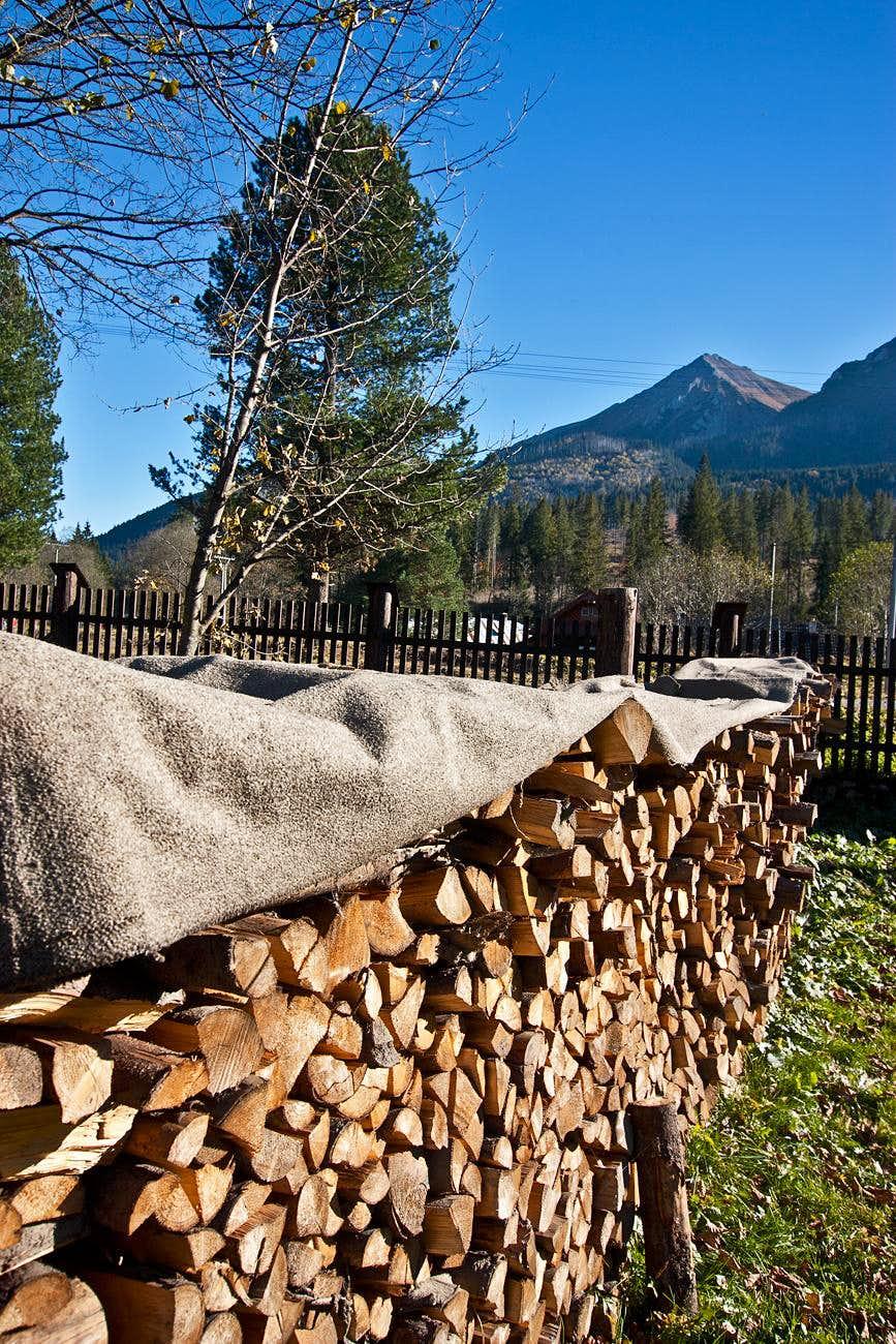 Firewood stack at Podspady