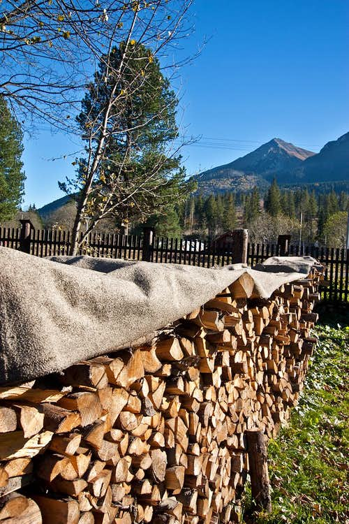 Firewood stack at Podspady