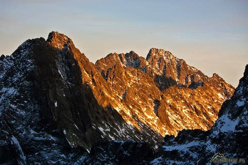 Ganek and Gerlach peaks at sunset
