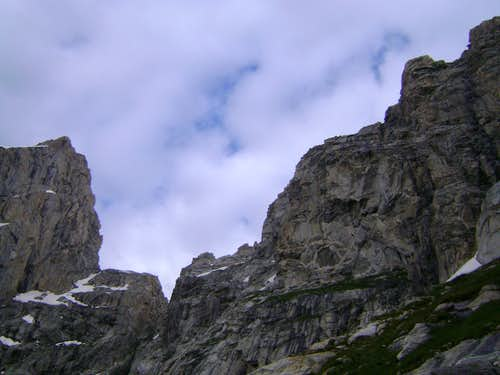 The saddle between the Grand Teton and Mount Owen-Seen from the Koven Couloir
