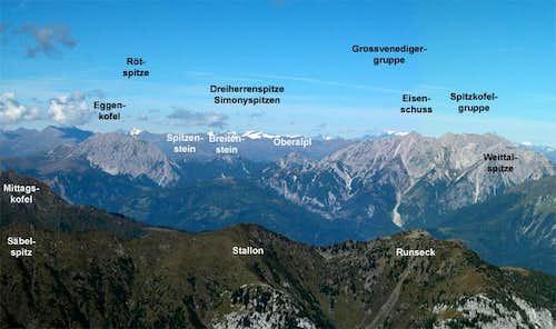 Summit view Rauchkofel: Lienz...