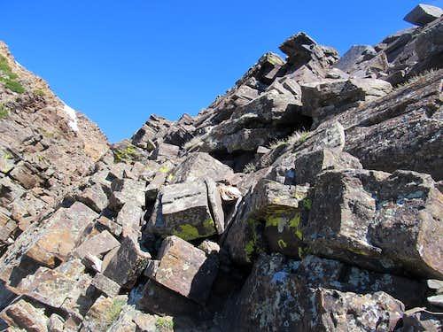 along descent near crux
