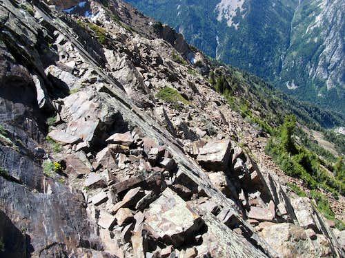 midway through crux descent