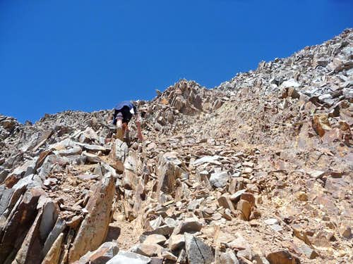 Scrambling up Wilson Peak