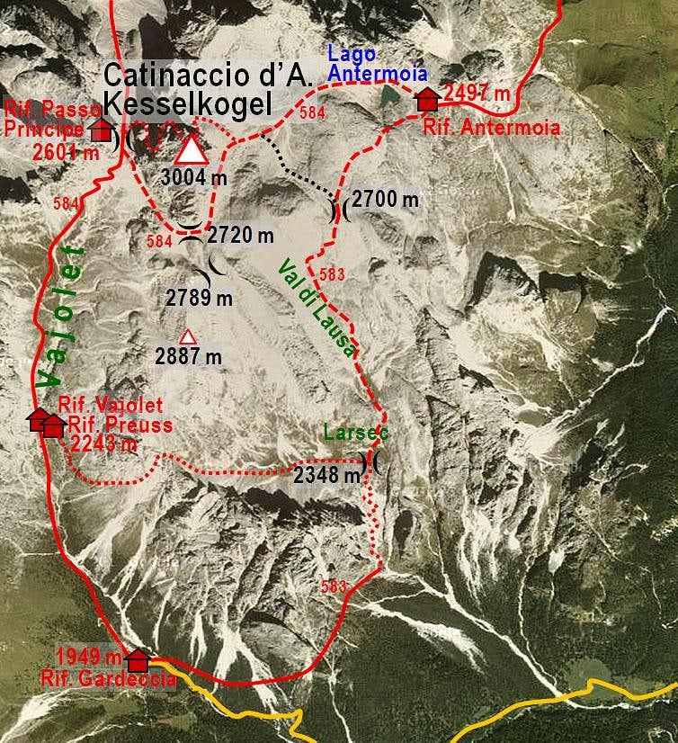 Catinaccio d'Antermoia / Kesselkogel map