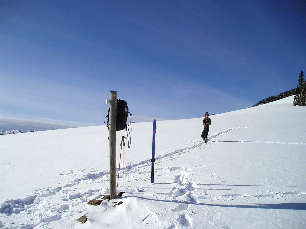 Forrest taking a break to snap some pics, high on Sepulcher mountain in the winter-Yellowstone National Park