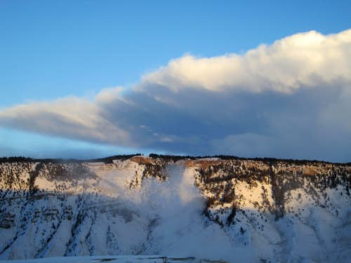 Mount Everts seen from the Mammoth Terraces-Yellowstone National Park