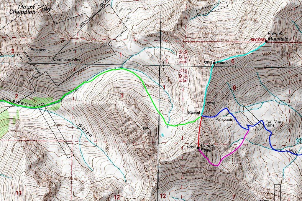 Casco Peak Topo Map