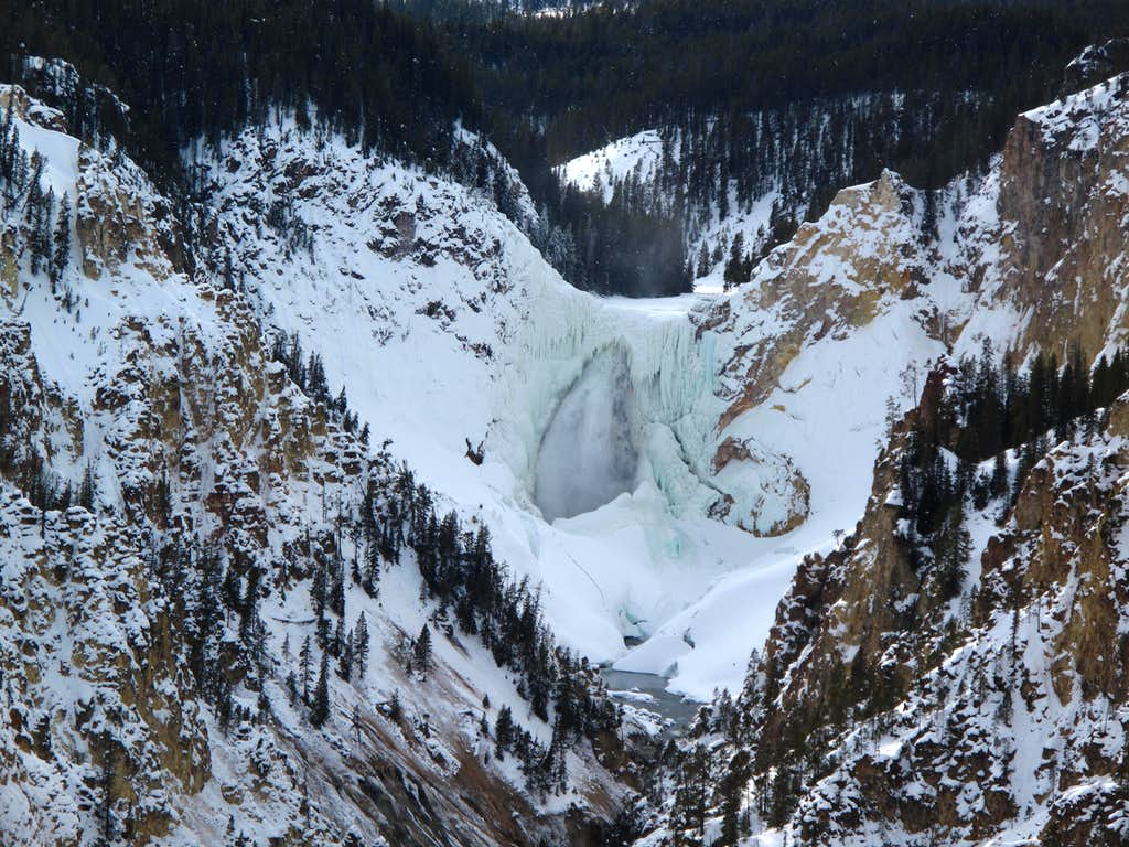 The Lower Falls of the Yellowstone River seen during winter-Yellowstone National Park