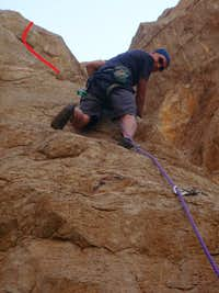 John Gregory doing the second ascent of Mutual Stimulation