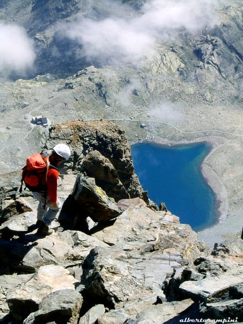 Coming down from the summit of Monviso