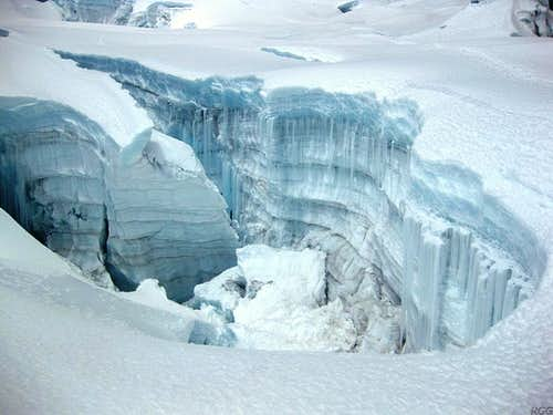 A huge hole in the glacier on Chopicalqui