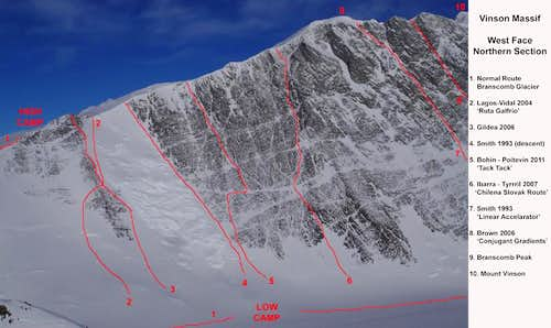 Northern End of West Face Vinson Routes