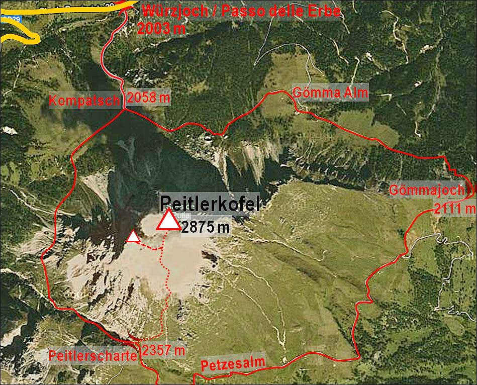 Peitlerkofel map