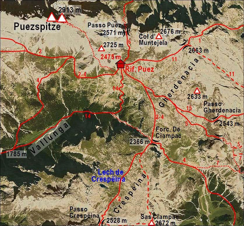 Gherdenacia plateau - map