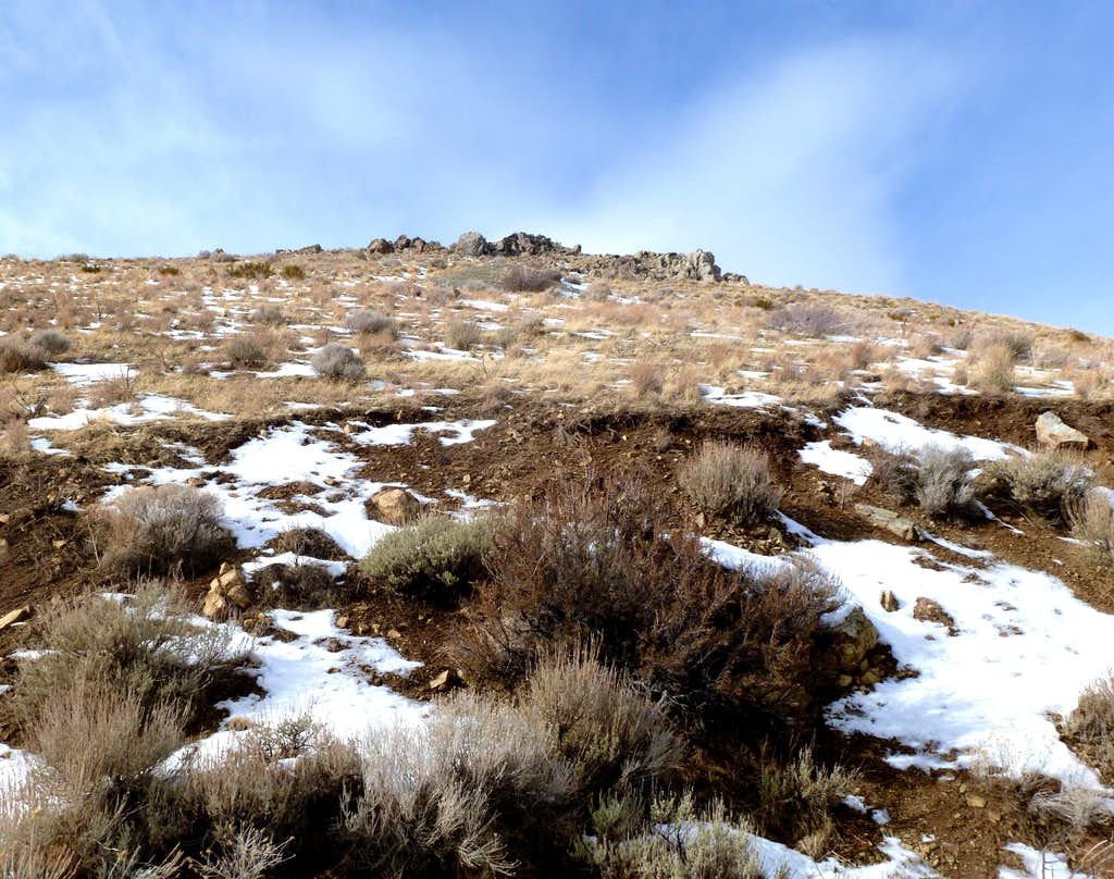View up to a rocky area early on the road