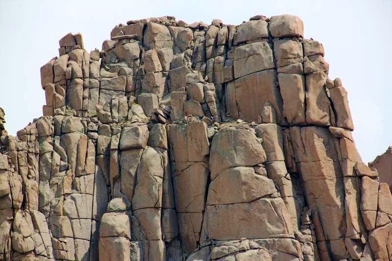 Climbers on Jagged's narrow ledges