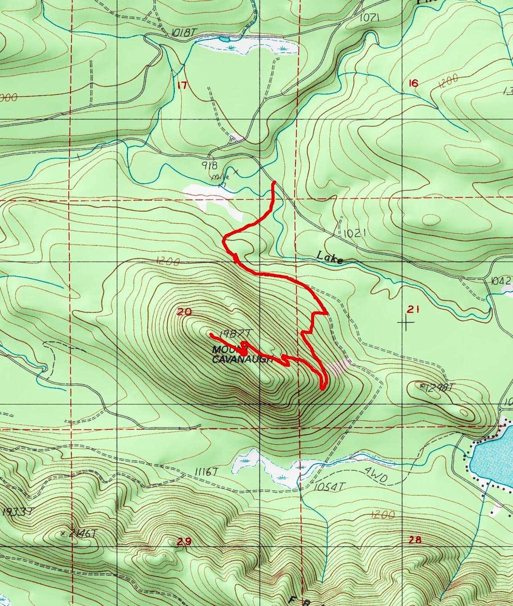 Route Up Mount Cavanaugh