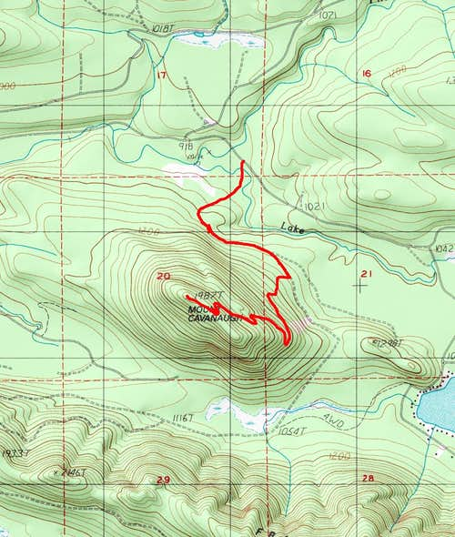 Route Up Mount Cavanaugh