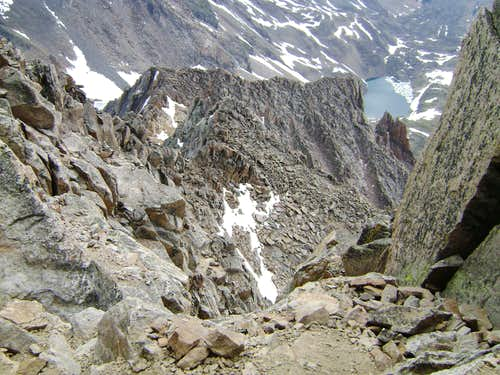 View down from high on the east ridge of Granite Peak