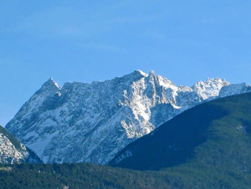 The massive face of Mount Cowen in winter, Absaroka Range, Montana