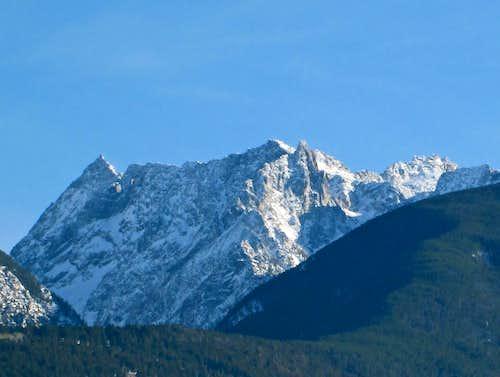 The massive face of Mount Cowen in winter, Absaroka Range, Montana