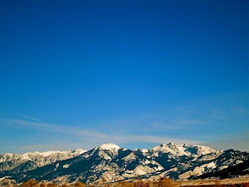 Mount Cowen and Paradise Valley in winter, Absaroka Range, Montana