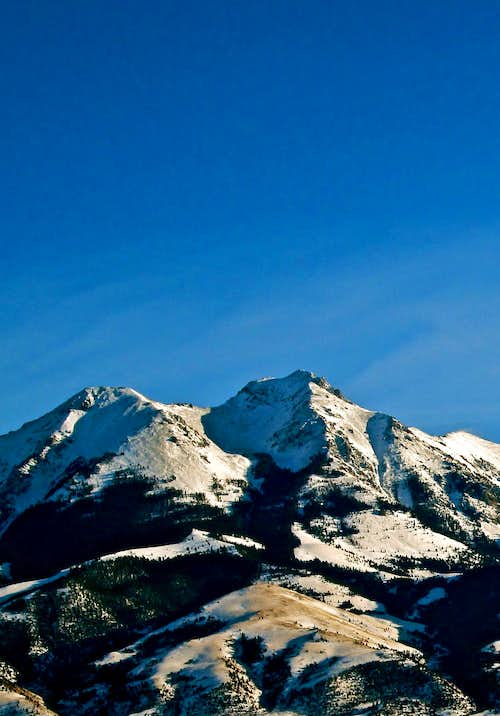 The snowy summit of Emigrant Peak viewed from Paradise Valley, Absaroka Range, Montana