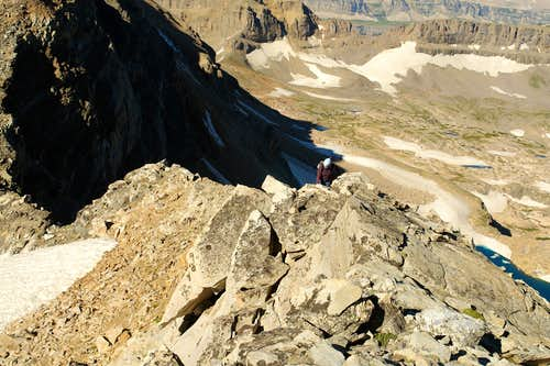 Scrambling on the lower SW Ridge of the Middle Teton