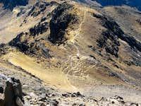 Way down to Grupo de Los Cien Hut