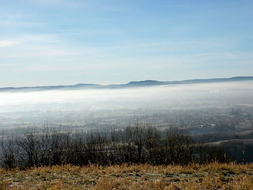 View of the Low Beskid from Mount Dział Overlook in Czarnorzeki