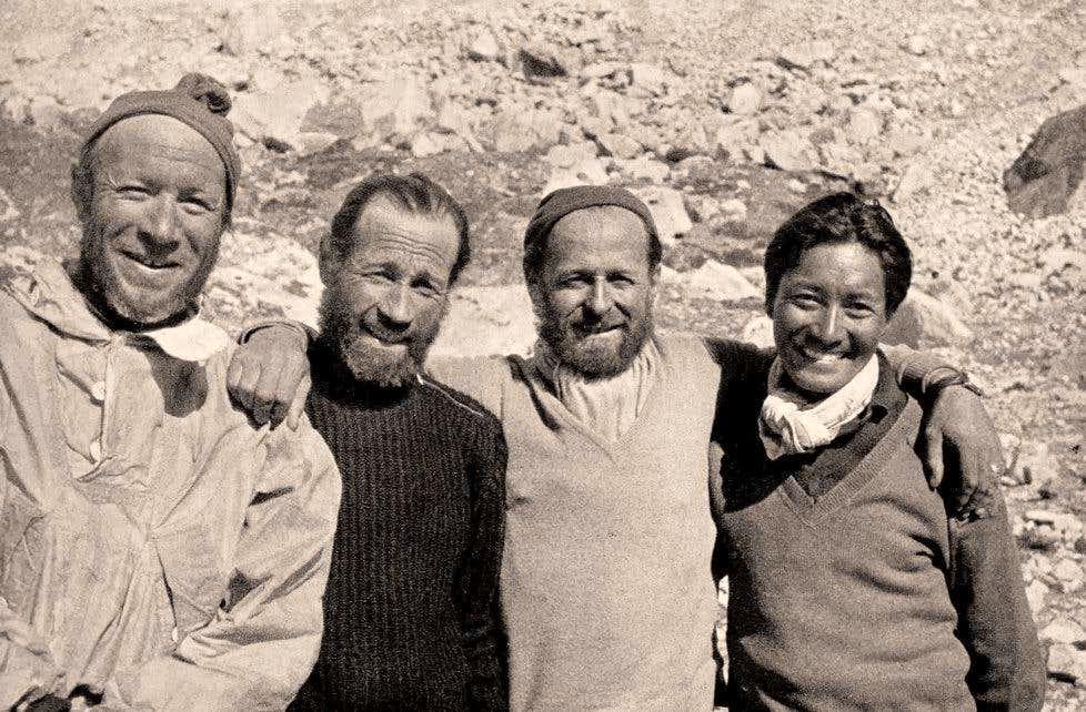 Everest 1952 - Raymond with Aubert, Flory and Tenzing