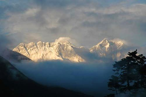 Sunset on Nuptse, Everest and...
