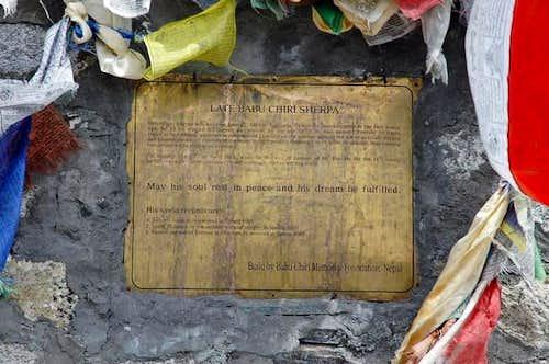 Babu Chiri Sherpa memorial, a...