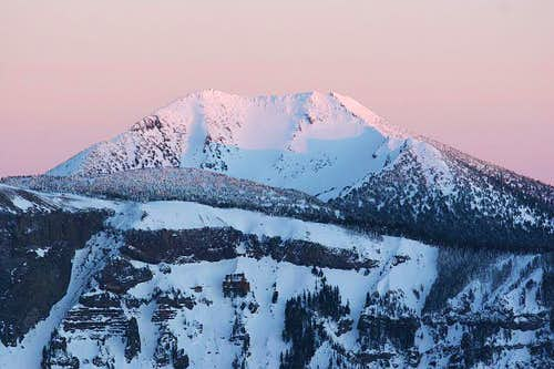Mt. Scott in winter alpenglow
