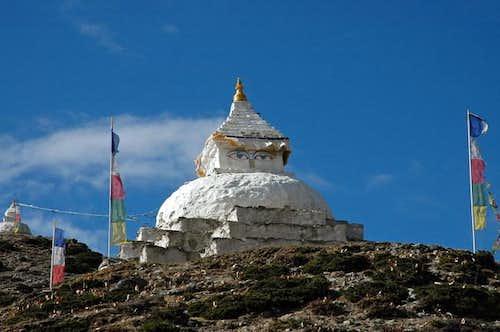 Stupas of Dingboche. Lobuche...