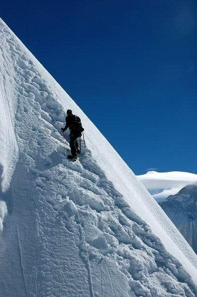 Last steep section, Makalu in...