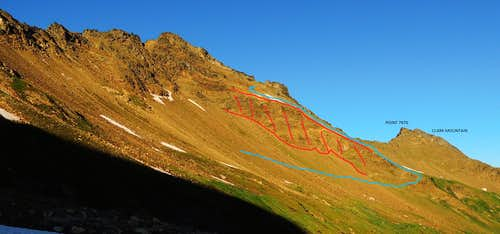 Luahna Peaks SW slope - annotated