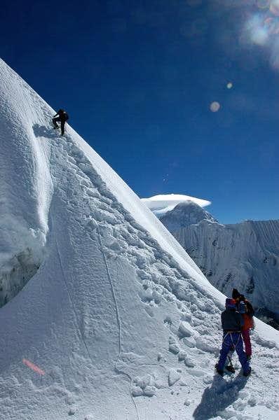 50m below summit of Imja Tse...